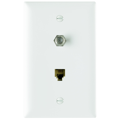 Pass & Seymour Inc TPTELTVW On-Q TPTELTV-W Type F 1-Gang Combination Communication Wallplate; Flush Mount, Thermoplastic Face, White