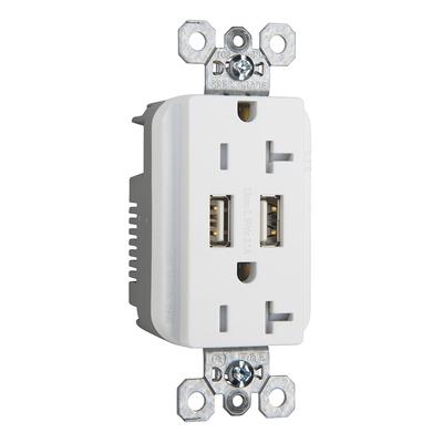 Pass & Seymour Inc TR5362USBW Pass & Seymour TR5362USBW Decorator USB Charger with Tamper Resistant Duplex Receptacle; 20 Amp, 125 Volt, 5-20R NEMA, White