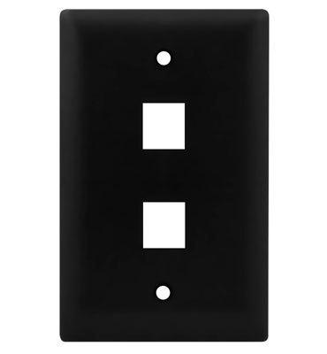 Pass & Seymour Inc WP3402-BK On-Q WP3402-BK 1-Gang Wallplate; Wall Box, (2) Receptacles, (2) Keystones, High Impact Flame Retardant Plastic, Black