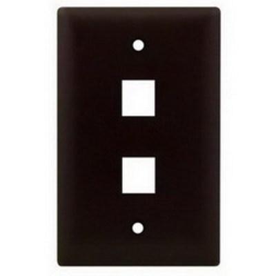 Pass & Seymour Inc WP3402-BR On-Q WP3402-BR 1-Gang Wallplate; Wall Box, (2) Receptacles, (2) Keystones, High Impact Flame Retardant Plastic, Brown