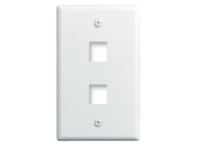 Pass & Seymour Inc WP3402-WH On-Q WP3402-WH 1-Gang Wallplate; Wall Box, (2) Receptacles, (2) Keystones, High Impact Flame Retardant Plastic, White