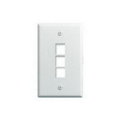 Pass & Seymour Inc WP3403-WH On-Q WP3403-WH 1-Gang Wallplate; Wall Box, (3) Receptacles, (3) Keystones, High Impact Flame Retardant Plastic, White