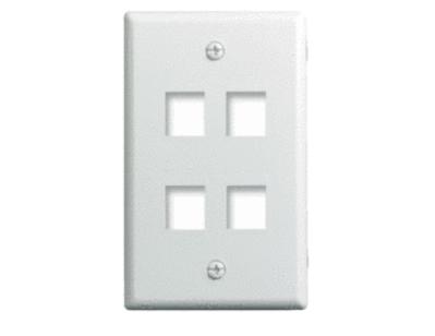 Pass & Seymour Inc WP3404-WH On-Q WP3404-WH 1-Gang Wallplate; Wall Box, (4) Receptacles, (4) Keystones, High Impact Flame Retardant Plastic, White