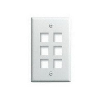 Pass & Seymour Inc WP3406-WH On-Q WP3406-WH 1-Gang Wallplate; Wall Box, (6) Receptacles, (6) Keystones, High Impact Flame Retardant Plastic, White