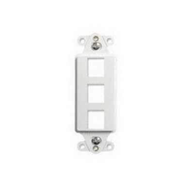 Pass & Seymour Inc WP3413-WH On-Q WP3413-WH 1-Gang Decorator Outlet Strap; Wall Box, (3) Receptacles, (3) Keystones, High Impact Flame Retardant Plastic, White