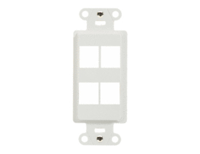 Pass & Seymour Inc WP3414-WH On-Q WP3414-WH 1-Gang Decorator Outlet Strap; Wall Box, (4) Receptacles, (4) Keystones, High Impact Flame Retardant Plastic, White