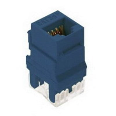 Pass & Seymour Inc WP3450-BE On-Q WP3450-BE Category 5e RJ45 Keystone Connector; Vertical Mount, 8P8C, Blue