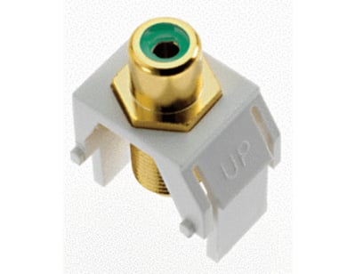 Pass & Seymour Inc WP3463-WH On-Q WP3463-WH RCA to F-Type Keystone Insert; M20 Screw/Wallplate or Strap Mount, White/Green