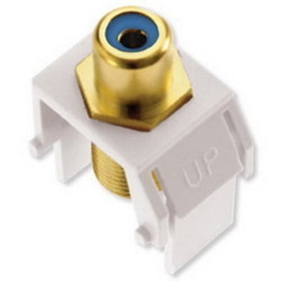 Pass & Seymour Inc WP3464-WH On-Q WP3464-WH RCA to F-Type Keystone Insert; M20 Screw/Wallplate or Strap Mount, White/Blue