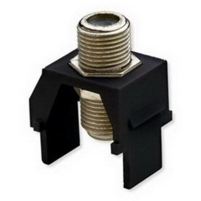 Pass & Seymour Inc WP3479-BK On-Q WP3479-BK Non-Recessed F-Type Keystone Coax Connector; Wallplate or Strap Mount, Black