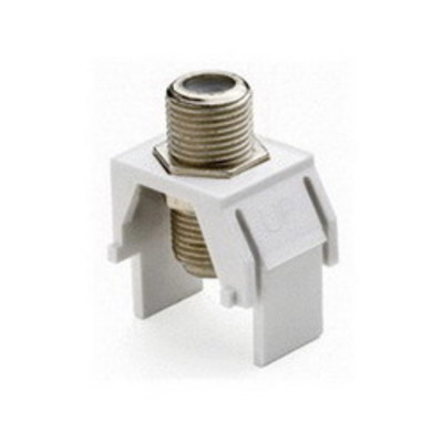 Pass & Seymour Inc WP3479-WH-50 On-Q WP3479-WH-50 Non-Recessed F-Type Keystone Coax Connector; Wallplate or Strap Mount, White