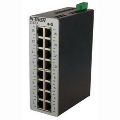Red Lion 116TX N-TRON Corp 116TX 100 Series Unmanaged Ethernet Switch; 16-Port, 35 mm DIN Rail Mount