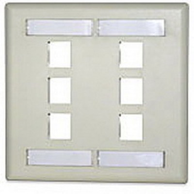 Signamax DKFL-6 Signamax DKFL-6 2-Gang Keystone Faceplate with Labeling Window; 6-Port, High Impact Thermoplastic, Light Ivory, Screw Mount