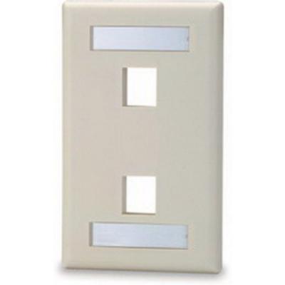 Signamax SKFL-2-GY Signamax SKFL-2-GY 1-Gang Faceplate With Labeling Window; Screw, (2) Port, Keystone, High Impact Fire Retardant Thermoplastic, Gray