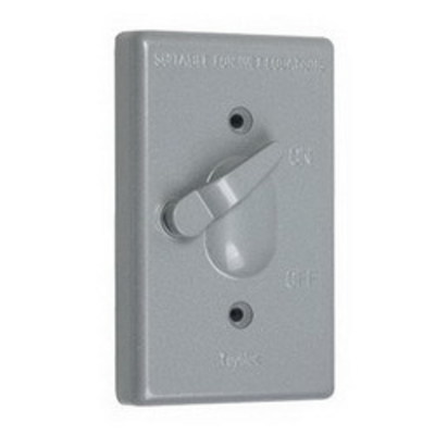 TayMac TC100S Taymac TC100S Flat Cover; Vertical Mount, Gray, For 1-Gang Toggle Switches