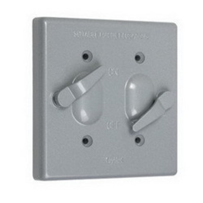 TayMac TC200S Taymac TC200S Flat Cover; Vertical Mount, Gray, For 2-Gang Toggle Switches