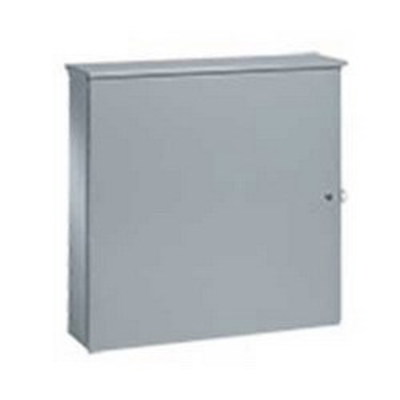 nVent HOFFMAN ATC36R3612 Hoffman ATC36R3612 Single Door Telephone Cabinet With Knockouts; NEMA 3R, 36 Inch x 12 Inch x 36 Inch, 16/14 Gauge Steel, ANSI 61 Gray, Polyester Powder Paint