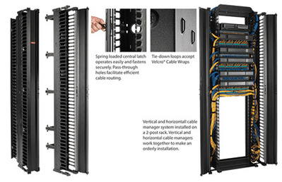 nVent HOFFMAN DV6S7 Hoffman DV6S7 CableTek™ Single-Sided Vertical Cable Manager; Rack Mount, 45-Rack Unit, Aluminum, RAL 9005 Black, Low-Gloss Light Textured Polyester Powder Paint
