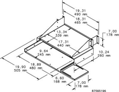 nVent HOFFMAN E19SKBM Hoffman E19SKBM Pull-Out Keyboard/Monitor Shelf; Rack Mount, 4-Rack Unit, RAL 9005 Black