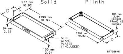 nVent HOFFMAN PB1186 Hoffman PB1186 Proline DD Modular 100-mm Bases; 70.830 Inch Width x 2.530 Inch Depth x 22.010 Inch Height