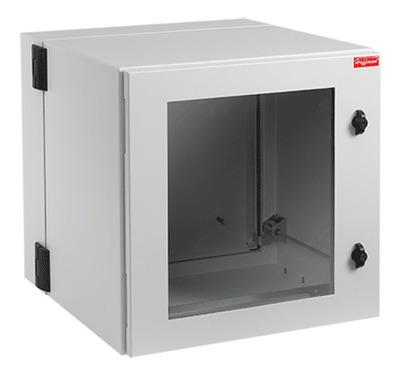 nVent HOFFMAN PTHW482424G2 Hoffman PTHW482424G2 Protek Window Door Double-Hinged Cabinet; Wall Mount, 26-Rack Unit, RAL 7035 Light Gray